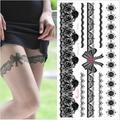 Tatouage en dentelle Sexy au henné, blanc et noir, 1 pièce, bas en dentelle, arabe, indien, rose,