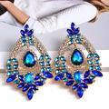 Grandes boucles d'oreilles en cristal pour femmes, pendentif fleur bleu vert, boucles d'oreilles de