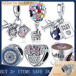 Breloques en argent 925 de ley Globe et tasse de café, adaptées aux perles originales de Bracelet