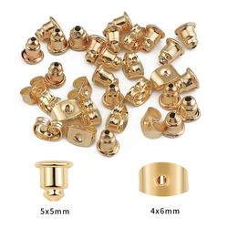Bouchons de boucles d'oreilles plaqués or 18K, 50 pièces/lot, boucles d'oreilles, goujons, boucles