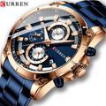 CURREN – montre-bracelet à Quartz de luxe pour hommes, Design créatif, avec chronographe en acier