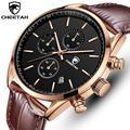 Montre CHEETAH à Quartz pour hommes, étanche, chronographe, Sport, bracelet en cuir, Business, avec