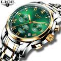 LIGE — Montre de sport étanche en acier inoxydable pour homme, chronographe, à quartz, marque de