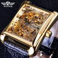 Winner – montre mécanique de luxe pour hommes, série rétro, cadran rectangulaire, motif doré,