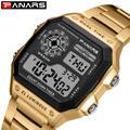 PANARS – montre de sport rétro pour hommes, carrée, étanche, compte à rebours, chronomètre
