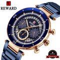 Reward – montre-bracelet étanche à Quartz pour hommes, chronographe, bracelet en acier inoxydable