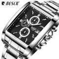 BOSCK – montre de sport à Quartz pour homme, cadran carré, bracelet en acier, étanche, lumineuse