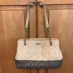 Kate Spade Bags | Kate Spade Leather Bag - Quilted Leather $189 | Color: Cream/Gray | Size: 12x 4 X 7
