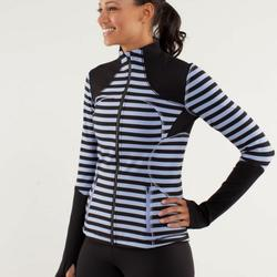 Lululemon Athletica Jackets & Coats | Lululemon Forme Jacket Sea Stripe Polar Hazeblack | Color: Black/Purple | Size: 10
