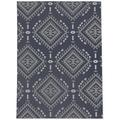 Foundry Select Sherburne Southwestern Navy/Gray/White Indoor/Outdoor Area Rug Polyester in Blue/Gray, Size 144.0 H x 108.0 W x 0.08 D in   Wayfair
