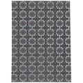 Canora Grey Hosier Damask Black/Brown/Gray Indoor/Outdoor Area Rug Polyester in White, Size 36.0 W x 0.08 D in | Wayfair
