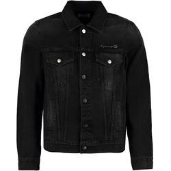 Heart Printed Denim Jacket - Black - Palm Angels Jackets