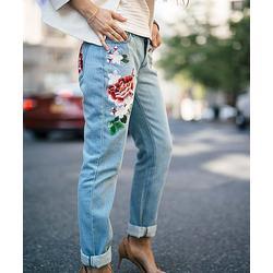 Charlie Charlie Charlotte Women's Denim Pants and Jeans Denim - Blue Floral Embroidered Denim Jeans - Women