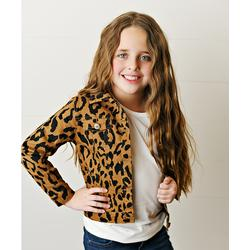 Adorable Sweetness Girls' Denim Jackets Brown/Black - Black & Orange Leopard Denim Jacket - Toddler & Girls