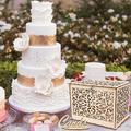 SpicyMedia Wedding Card Box w/ Lock Rustic Wood Card Box Gift Card Holder Card Box Perfect For Weddings, Baby Showers, Birthdays Wood in Brown