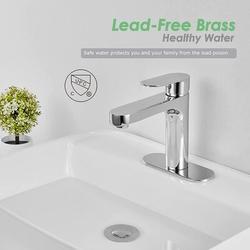 zhong_hua Bathroom Sink Faucet Polished Chrome Single Handle Brass 1 Hole Basin Mixer Tap Deck Mount Vessel Sink Faucets Lavatory Vanity Deck Plate Pop Up Drain