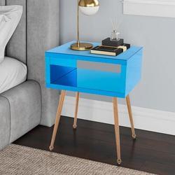Everly Quinn MIRROR END TABLE MIRROR NIGHTSTAND END&SIDE TABLE Wood in Blue, Size 23.22 H x 17.91 W x 15.16 D in | Wayfair
