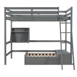 Harriet Bee Twin Loft Bed w/ Shelves Wood in Gray, Size 65.4 W x 79.4 D in   Wayfair F1316AEE51984B89849D5A3E1C8A32B5