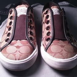 Coach Shoes | Coach Casual No-Tie Sneakers | Color: Brown/Tan | Size: 5