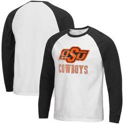 """Men's Colosseum White Oklahoma State Cowboys Mystery Raglan Long Sleeve T-Shirt"""