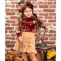 Mia Belle Girls Girls' Casual Skirts Burgundy - Burgundy Floral Ruffle Flowers Bloom Long-Sleeve Top & Beige Skirt - Toddler & Girls