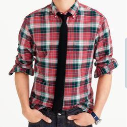J. Crew Shirts   J Crew All Cotton Classic Fit Oxford Shirt Sz L   Color: Green/Red   Size: L