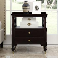 Canora Grey Designs Nightstands w/ 2 Drawers & Open Shelf Night Stand, Modern Black Cherry 2 Drawer Nightstand w/ Fenced Deskto   Wayfair