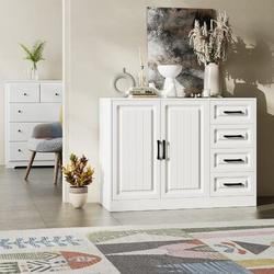 Winston Porter 2-Door Accent Drawer & Chest w/ 4 Drawers Wood in Brown/White, Size 30.0 H x 41.3 W x 15.7 D in | Wayfair