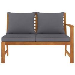 "Red Barrel Studio® Garden Bench 45.1"" w/ Dark Gray Cushion Solid Acacia Wood Wood in Brown/White, Size 31.89 H x 45.08 W x 23.82 D in | Wayfair"