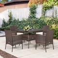 Winston Porter 5pcs Patio Rattan Dining Furniture Set Armrest Sofa Chair Glass Table Metal/Wicker/Rattan in Brown | Wayfair