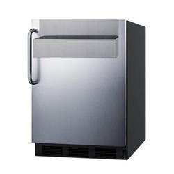 "Summit Appliance 24"" Wide All-Refrigerator w/ Speed Rail Stainless Steel in Black/Gray, Size 32.63 H x 23.63 W x 24.25 D in | Wayfair FF7BKSSTBSR"