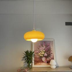 Ivy Bronx European Vintage Style Orange Glass Shade Pendant Light in Gray/Orange, Size 6.0 H x 11.0 W x 11.0 D in | Wayfair