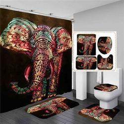 Rideau de douche en forme d'éléphant aquarelle, ensemble de 4 pièces, tapis de bain, couvercle de