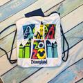 Disney Bags | Disneyland 2020 Pull String Backpack | Color: Blue/White | Size: Os