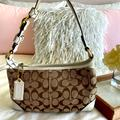 Coach Bags   Coach Jacquard Signature Monogram And Leather Bag   Color: Brown/Cream   Size: 11.5 By 7 Inches