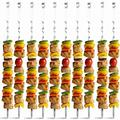 qing 10 Pack Kabob Skewers BBQ Barbecue Skewers Stainless Steel Sticks Heavy Duty Reusable w/ Nonslip Ring Handle Ideal For Shish Kebab Chicken Shrimp A Steel