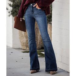 Charlie Charlie Charlotte Women's Denim Pants and Jeans Denim - Denim Blue Bell Flare Jeans - Women