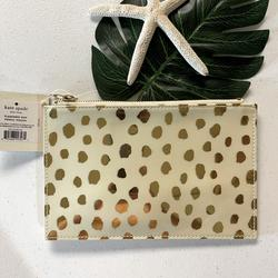 Kate Spade Accessories | Kate Spade Nwt Kate Spade Ny Gold Pencil Pouch | Color: Cream/Gold | Size: 8.5 W X 6 H