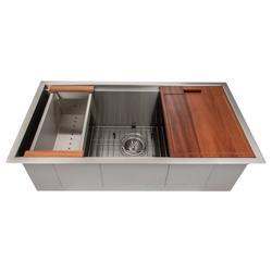 ZLINE Garmisch 33 Inch Undermount Single Bowl Sink in Stainless Steel with Accessories (SLS-33) - ZLINE Kitchen and Bath SLS-33