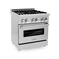 ZLINE 30 in. Professional 4.0 cu. ft. 4 Gas Burner/Electric Oven Range in Stainless Steel (RA30) - ZLINE Kitchen and Bath RA30