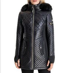 Michael Kors Jackets & Coats | Michael Kors Quilted Faux Fur Trim Jacket Coat | Color: Black | Size: S