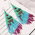 Free People Jewelry | Boho Beaded Dangle Earrings | Color: Blue/Pink | Size: Os
