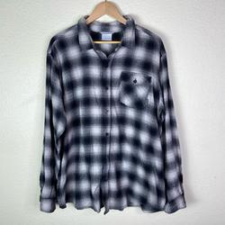 Columbia Shirts   Columbia Mens Plaid Flannel Button Down Shirt   Color: Black/White   Size: Xl