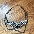 J. Crew Jewelry   J.Crew Black Chain & Clear Crystal Necklace   Color: Black/Silver   Size: Os
