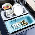 LSHUIGEN Colander Strainer Basket - Wash Vegetables & Fruits, Drain Cooked Pasta & Dry Dishes - Extendable - New Home Kitchen Essentials Plastic