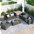 Red Barrel Studio® Patio Furniture Sets, 7-piece Patio Wicker Sofa, Cushions, Chairs, A Loveseat, A Table & A Storage Box Wicker/Rattan in Gray