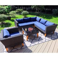 Latitude Run® Wicker/Rattan 6 - Person Seating Group w/ Cushions Wood/Natural Hardwoods/Wicker/Rattan in Blue/Brown/White   Wayfair