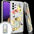 Samsung Galaxy A32 5G Slim Phone Case with Printed Flowers and Perfume Bottle Design compatible only with Samsung Galaxy A32 5G, Clear For Galaxy A32