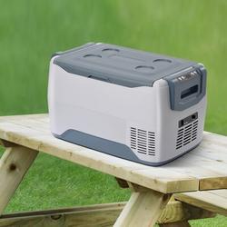 ANGELSHORN 1.06cu.ft Car Fridge Portable Freezer Cooler w/ 12/24v Dc, Freestanding Mini Fridge, Travel Refrigerator For Vehicles, Car, Truck, Rv