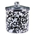 Golden Rabbit Enamelware - Food Canister w/ Glass Lid in Black, Size 5.5 H x 6.0 W x 6.0 D in   Wayfair BL38